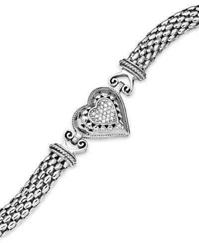 Diamond Mesh Heart Bracelet in Sterling Silver (1/6 ct. t.w.)
