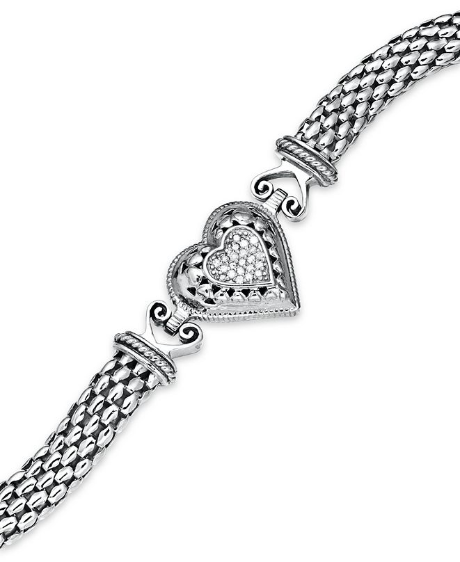 Macy's Diamond Mesh Heart Bracelet in Sterling Silver (1/6 ...