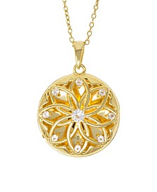 Helen White Topaz (3/8 ct. t.w.) Photo Locket Necklace in 14k Yellow Gold over Sterling Silver (Also Available in 14k Rose Gold over Sterling Silver)