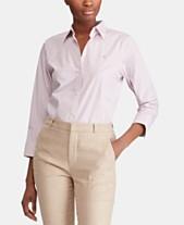 8028c711332891 Lauren Ralph Lauren Button Down Non-Iron ¾ Sleeve Shirt