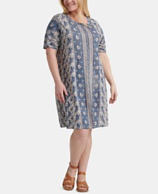 Lucky Brand Plus Size Printed T-Shirt Dress
