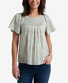 Smocked Embroidered Cotton Top
