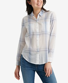 Lucky Brand Open Check Button-Front Top