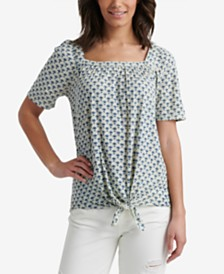Lucky Brand Printed Square-Neck Tie Front Top