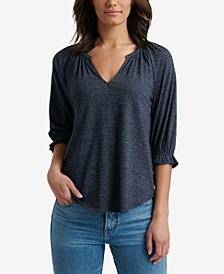 Textured 3/4-Sleeve Peasant Top