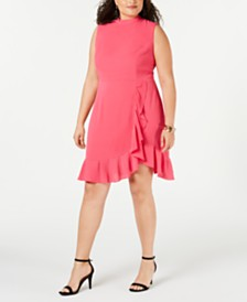 Betsey Johnson Trendy Plus Size Ruffled Dress