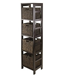 Winsome Granville 5Pc Storage Tower Shelf with 4 Foldable Baskets