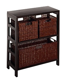 Winsome Leo 4Pc Shelf with 3 Baskets, Shelf with One Large and 2 Small Baskets, 2 Cartons