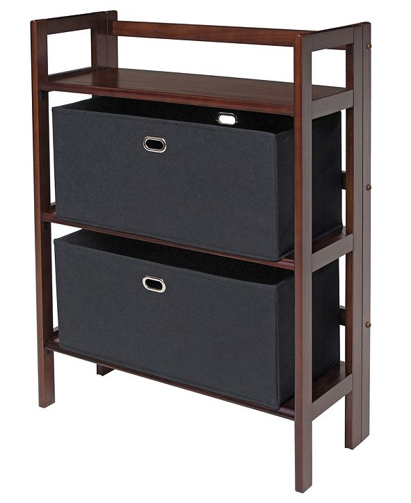 Winsome Torino 3-Pc Set Folding Bookcase with Fabric Basket