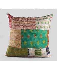 Cotton Candy Kantha Throw Pillow