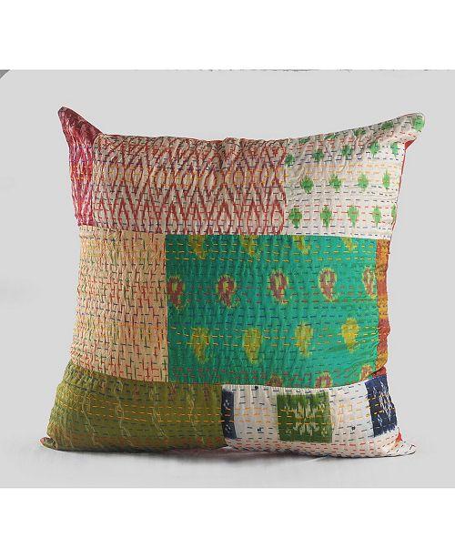 LR Resources Inc. Cotton Candy Kantha Throw Pillow