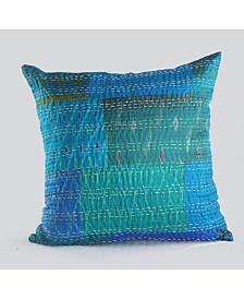 Hand Block Kantha Throw Pillow
