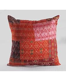 Happie Maroon Kantha Throw Pillow