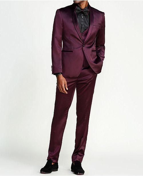 Sean Alexander Men's Solid Sharkskin 3-Piece Slim Fit Suit