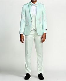 Men's Printed Design Peak Lapel Slim Fit Suit