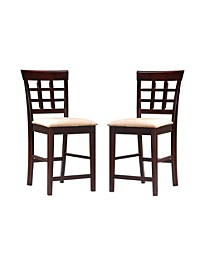 "Lakehurst 24"" Wheat Back Bar Stools with Fabric Seat (Set of 2)"