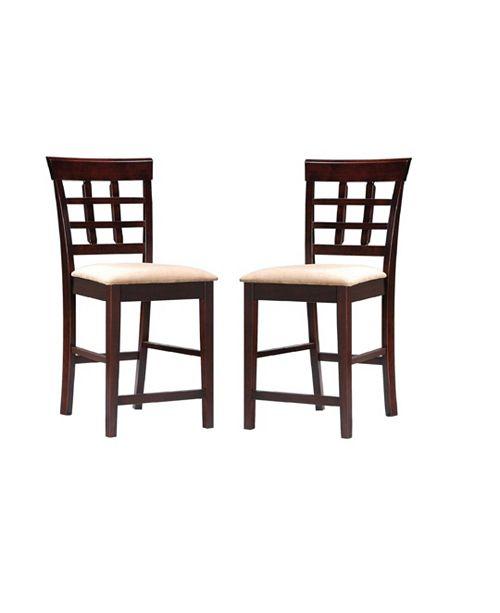 """Coaster Home Furnishings Lakehurst 24"""" Wheat Back Bar Stools with Fabric Seat (Set of 2)"""