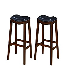 Bonifacio Upholstered Backless Bar Stools with Nailhead Trim (Set of 2)