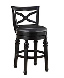 "Amar 29"" Swivel Bar Stool with Faux Leather Seat"