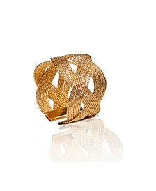 Set of 6 Gold Woven Napkin Rings