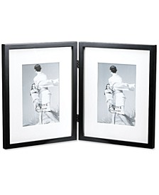 "Black Wood 8"" x 10"" Hinged Double Picture Frame Matted To - 5"" x 7"""