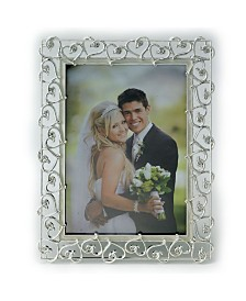 "Lawrence Frames Silver Plated Metal Picture Frame - Open Heart Design with Crystals and Ivory Enamel - 5"" x 7"""