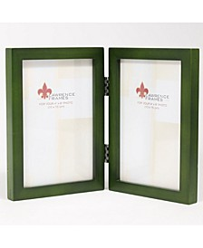 """Hinged Double Green Wood Picture Frame - Gallery Collection - 4"""" x 6"""""""