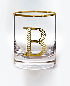 Monogram Rim and Letter B Double Old Fashioned Glasses, Set Of 4