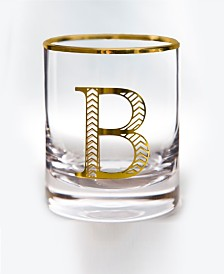 Qualia Glass Monogram Rim and Letter B Double Old Fashioned Glasses, Set Of 4