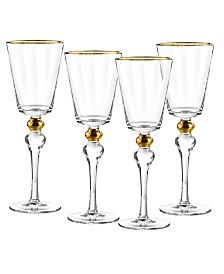 Qualia Glass Dominion Gold Goblet, Set Of 4