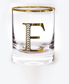 Qualia Glass Monogram Rim and Letter E Double Old Fashioned Glasses, Set Of 4