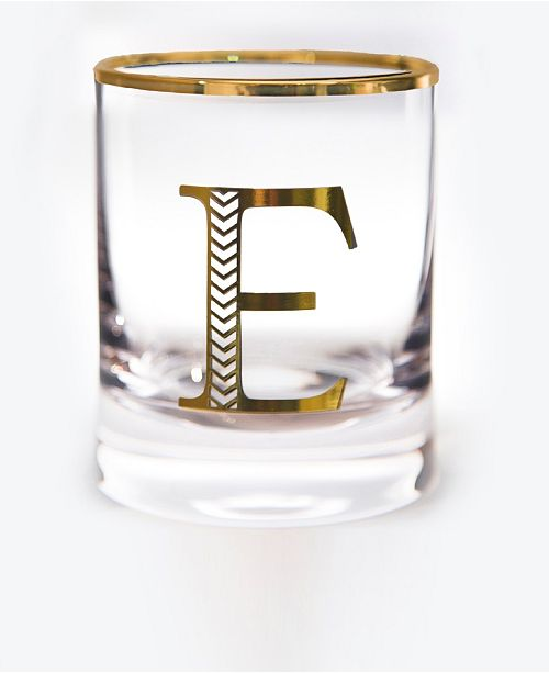 Qualia Glass Monogram Rim and Letter E Double Old Fashioned Glasses, Set Of 4