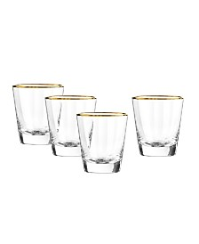 Qualia Glass Dominion Gold Double Old Fashioned Glasses, Set Of 4
