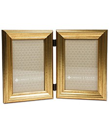 "Hinged Double Sutter Burnished Gold Picture Frame - 4"" x 6"""