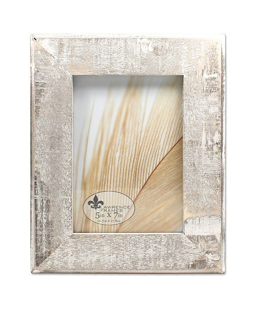 """Lawrence Frames Distressed Gray Wood with White Wash Picture Frame - 5"""" x 7"""""""