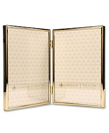 "Hinged Double Simply Gold Metal Picture Frame - 5"" x 7"""