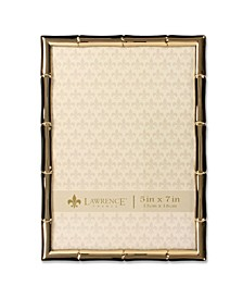"Gold Metal Picture Frame with Bamboo Design - 5"" x 7"""