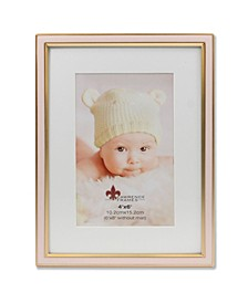 """Matted Pink Enamel and Satin Gold Metal Picture Frame - 6""""x8"""" without Mat - 4"""" x 6"""""""
