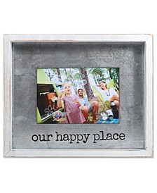 """Taylor White Wood Frame with Galvanized Metal - Our Happy Place - 4"""" x 6"""""""