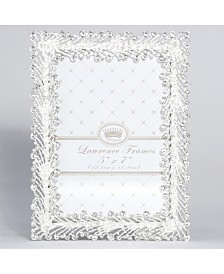 "Lawrence Frames Jasmond Silver Metal Frame with Crystal Spray - 5"" x 7"""