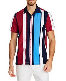 Tallia Men's Slim-Fit Performance Stretch Vertical Stripe Short Sleeve Camp Shirt