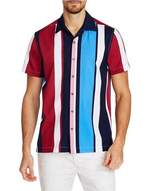 Tallia Men's Slim-Fit Performance Stretch Vertical Stripe Short Sleeve Camp Shirt