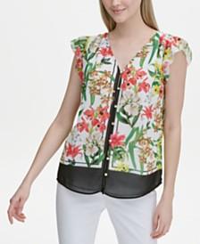 Calvin Klein Printed Button-Front Flutter-Sleeve Top