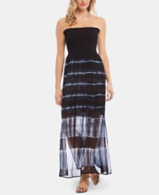 Karen Kane Smocked Tie-Dyed Strapless Dress