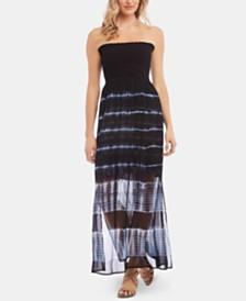 Karen Kane Smocked Tie-Dyed Strapless Dress