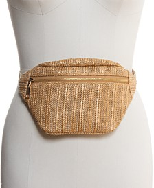 INC Straw Belt Bag, Created for Macy's
