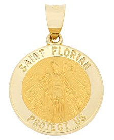 Saint Florian Medal Pendant in 14k Yellow Gold