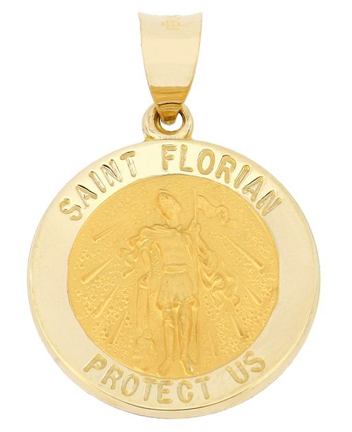 Macy's Saint Florian Medal Pendant in 14k Yellow Gold