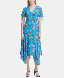 Calvin Klein Printed Handkerchief-Hem Faux-Wrap Dress