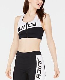 Juicy Couture Colorblocked Zip-Front Sports Bra